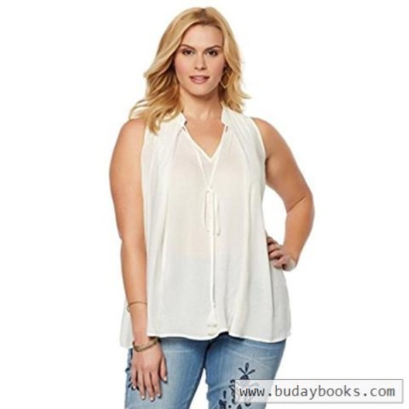 01165599615 SHEER CREAM SLEEVELESS SWING TOP PLUS SIZE 1X. NWT. Melissa McCarthy Seven7